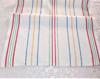 Vintage Towel Striped Kitchen Towels Tea Dish Towel Dish Cloth Dish Towel Hand Towels Primary Stripes Fiesta Towel Vintage Linens