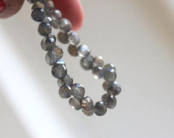 Deep Discount Sale Labradorite Gemstone Briolette Grey Faceted Onion 6mm 30 beads 1/2 Strand