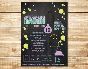 PRINTED Girly Science Spa 5x7 Birthday Invitation with envelope in purple, teal, yellow, and green on a chalkboard background