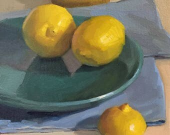 "Art painting still life by Sarah Sedwick ""Three-And-A-Half Lemons"" 8x8"""