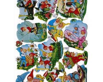 Germany Paper Scraps Lithographed Die Cuts Of Gnomes And Elves Fairy 7145