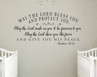 SALE May the Lord bless you and protect you - LIGHT GRAY- Home Decor, nursery decal - Christian Wall Decor - Scripture Blessing