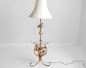 Hollywood Regency Gilded Lillies Tolle Floor Lamp