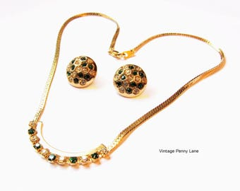 Vintage Green / Clear Rhinestone Necklace and Earrings