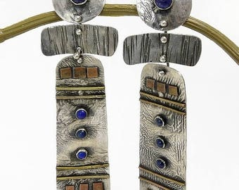 Modernist Sterling Silver Lapis Earrings Mixed Metals Pierced Earrings