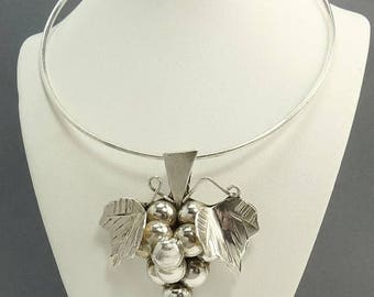 Vintage Mexico Sterling 925 Grape Cluster Pendant Collar Necklace Brooch