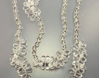 70s Miriam Haskell Crystal & Lucite Necklace Statement Jewelry
