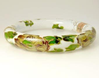Vintage Cloisonne Bangle Bracelet Hinged Bangle Grape Vine Pattern