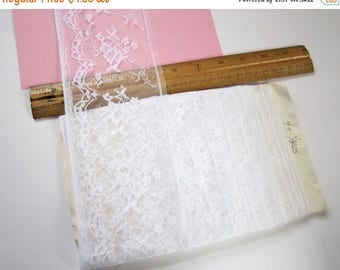 ON SALE- 4 yards vintage 4 inch wide white lace trim ribbon