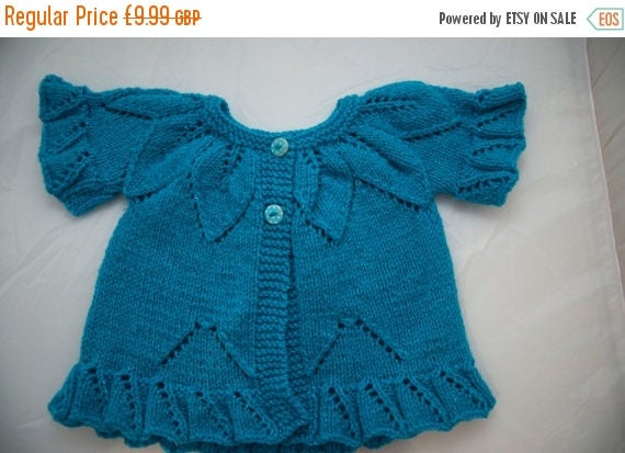 Christmas In July Handknitted Child's Cardigan/Tunic in Sparkly Blue size 12 month old