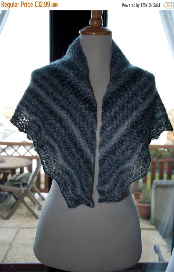 Christmas In July Handknitted Sparkle Shawl/Shawlette in Shades of Grey and White