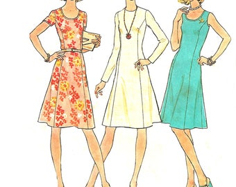 1970s Dress Pattern Simplicity Princess Seams Collarless Back Zip Vintage Sewing Women's Misses Size 12 Bust 34 Inches
