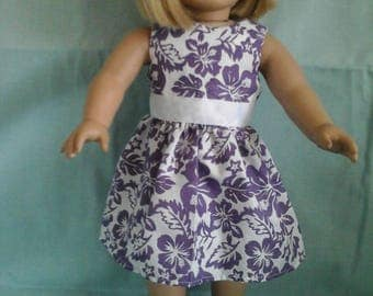 Purple Floral Dress / Doll Clothes fits American Girl doll or other 18 inch doll