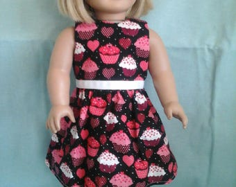 Cupcake and Hearts Dress / Doll Clothes fits American Girl doll or other 18 inch doll