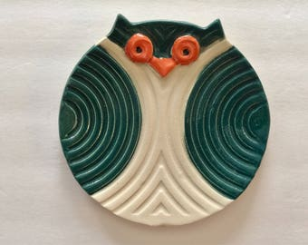 decorative ceramic Owl plate: whimsical woodland bird design HM by potter