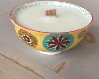 Home Decor Brightly Scented Soy Candle with Wooden Wick, Boho, Ceramic Bowl