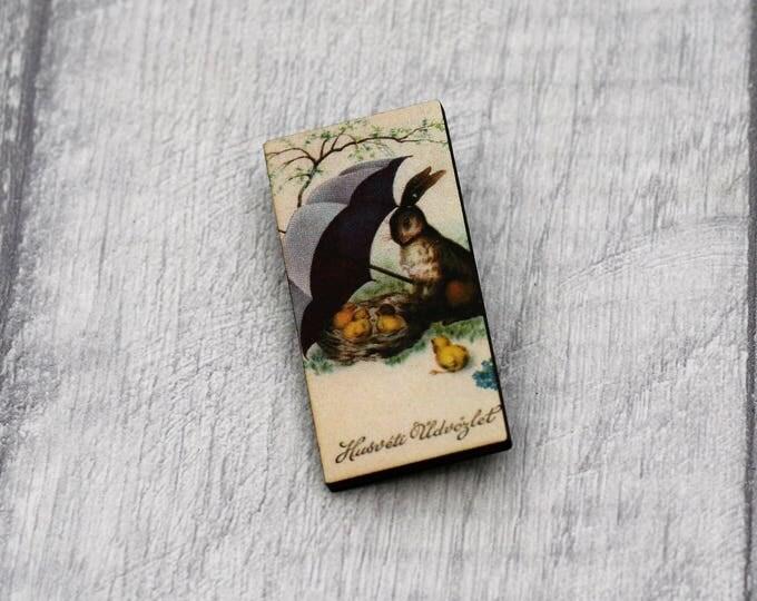 Easter Brooch, Bird Brooch, Rabbit Brooch, Wood Jewelry, Animal Brooch, Spring Jewelry
