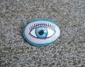 All seeing eye goose eggshell pysanky pin