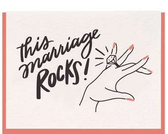 Letterpress 'This Marriage Rocks' Card