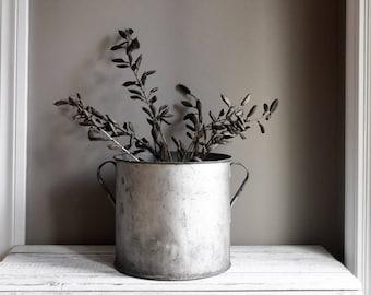 Vintage Silver Bucket, Garden Planter, Large Rustic Container