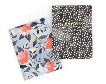 Illustrated Slim Notebooks, Set of 2 // 1canoe2 // Hand Illustrated