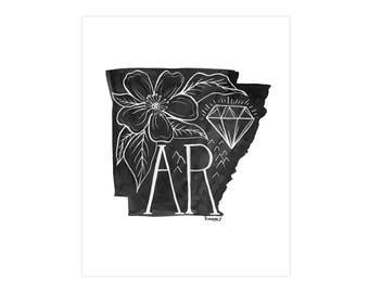 Arkansas State Print // 1canoe2 // Modern Art Print