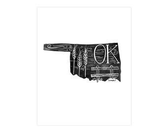 Oklahoma State Print // 1canoe2 // Modern Art Print