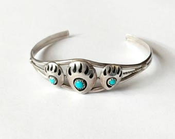 Vintage cuff bracelet sterling silver Native American turquoise bear claw paw shadow box 925