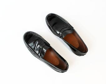 1990s TOD'S Black Patent Loafers Platforms