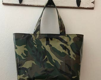 Beth's Large Camo / Camouflage Oilcloth Market Tote Bag