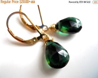 QUICKIE SALE 15% OFF, Tourmaline Green Quartz Gemstone Earrings, choose your ear wires and metal, lever back earrings, Great faux tourmaline