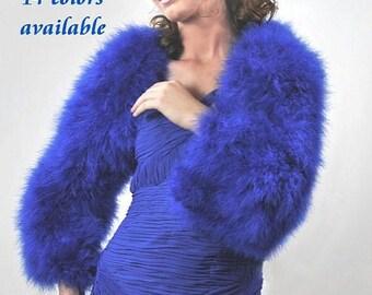 PROMO SALE: Cobalt Blue Marabou Shrug - Bolero - Jacket /  size XS - 2Xl. Available in 14 colors