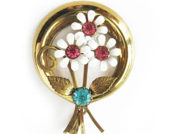 Vintage Signed Coro Floral Pendant with Pink and Blue Rhinestones / White Enamel Daisy Flowers