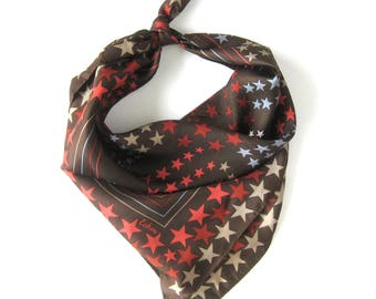Vintage ECHO Scarf / Stars / Start Pattern Scarf / Hand Rolled Hem / Chocolate Brown / Red Stars / Star Studded Silk Scarf  / Gift for Woman