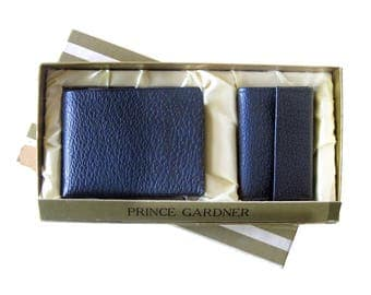 Vintage Leather Wallet Organizer and Key Valet / Prince Gardner In Box / Navy BLUE Wallet / Top Grain Leather Mens Wallet and Key Chain Set