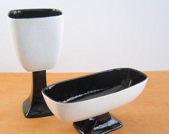 Vintage Sanford Sebring Splatter Paint Pottery Vases • Pair Mid Century Black and White Textured Vase Planter • 1950s USA Pedestal Vases