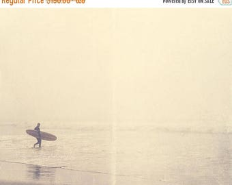 SALE California photography, large beach decor, surfer photograph, Venice ocean foggy winter morning silver pale grey water seaside for him
