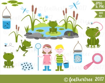 Digital Clipart - Pond Dipping - Frog - Garden Pond - 300 dpi JPEG and PNG files - Instant Download