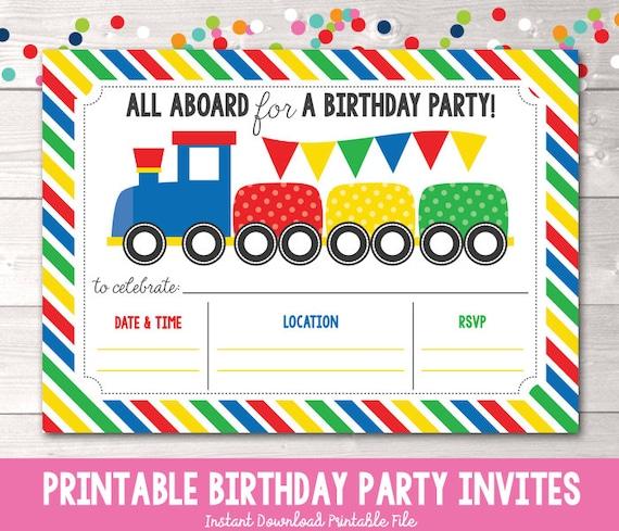 Train Birthday Party Invitation Instant Download Boys Birthday Party