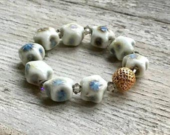 Pastel Blue Cream Star Beaded Bracelet with  Crystal  and  Brass, Minimalist  For Her Under 80, One of a Kind, US Free Shipping
