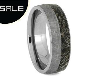 SALE - Tungsten Fossil Ring, Gibeon Meteorite Wedding Band With Dinosaur Bone, Masculine Ring