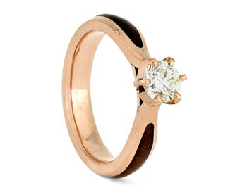 Ironwood Solitaire, Diamond Engagement Ring In 14k Rose Gold, Unique Wood Wedding Ring