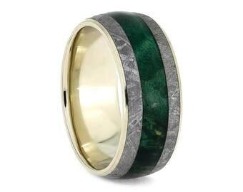 Green Box Elder Burl Ring With Meteorite, White Gold Wedding Band, Masculine Wedding Ring