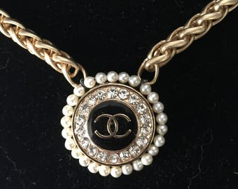 New Gold and Pearl Necklace with Vintage Chanel Button