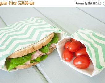 ON SALE PLASTIC-Free Sea Green Chevron Sandwich and Snack Bags, Reusable, Organic Cotton, Eco Friendly - Set of 2