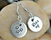 Hamilton Rise Up Dangling Earrings - Small Hand stamped Earrings - Hamilton Fan - Hamilfan Gift