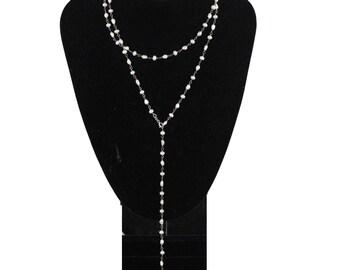 HANDMADE 6mm Baroque & Round Pearls LARIAT NECKLACE