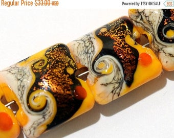 ON SALE 35% OFF Glass Lampwork Bead Set - Four Summer Sunset Waves Pillow Beads 10802014