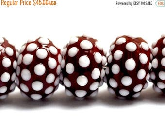 ON SALE 35% OFF New! Handmade Glass Lampwork Bead Set - 10707101 Seven Polka Dots on Burgundy Rondelle Beads