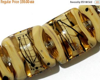 ON SALE 30% off Seven Transparent Brown w/Beige Strips Pillow Beads -11106104-Handmade Lampwork Glass